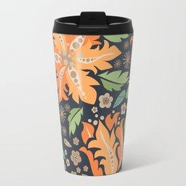 Cora Flora_ Orange and Slate Blue Travel Mug