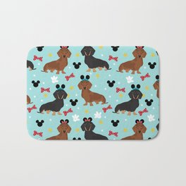 Dachshund theme park dog - black and tan and red doxies Bath Mat