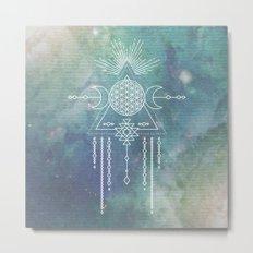 Mandala FLOWER OF LIFE - Turquoise Teal Blue Magical Tribal Galaxy Stars Symbol Metal Print