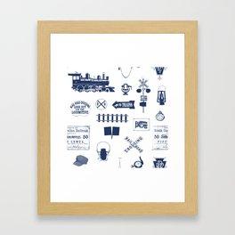 Railroad Symbols // Navy Blue Framed Art Print