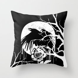 Raven and Rose Throw Pillow