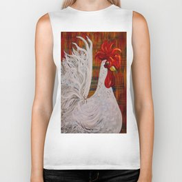 I Know I am Lovely - White Rooster Biker Tank