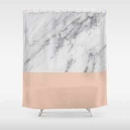 Marble and Blush Pink Shower Curtain