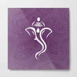 Purple Ganesha - Hindu Elephant Deity Metal Print