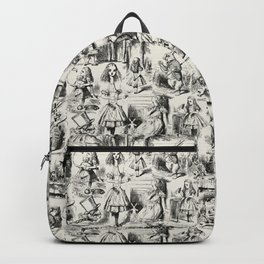 Alice in Wonderland | Toile de Jouy Pattern | Black | Beige | Vintage Pattern | Victorian Gothic | Backpack