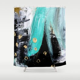Fairy Dreams: an abstract mixed media piece in black, white, teal, and gold Shower Curtain