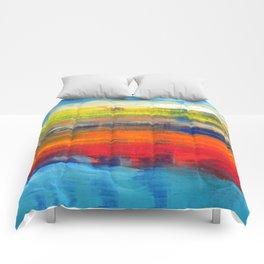 Horizon Blue Orange Red Abstract Art Comforters