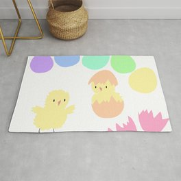 Pastel rainbow Easter eggs and chicken Rug
