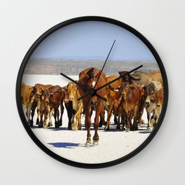 Pony leading the mob home Wall Clock