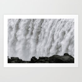 Roaring Dettifoss Waterfall in Iceland - Black and White Landscape Photography Art Print