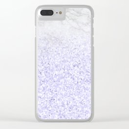 She Sparkles - Pastel Purple Glitter Marble Clear iPhone Case