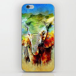 watercolor elephant iPhone Skin