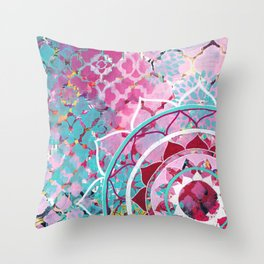 Pink and Turquoise Mixed Media Mandala Throw Pillow