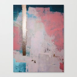 Morning Light: a minimal abstract mixed-media piece in pink gold and blue by Alyssa Hamilton Art Canvas Print