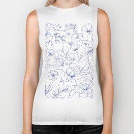 Modern hand drawn navy blue white elegant floral pattern Biker Tank