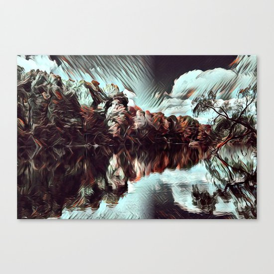 Dark & Eerie Forest on the River (Black & White) Canvas Print
