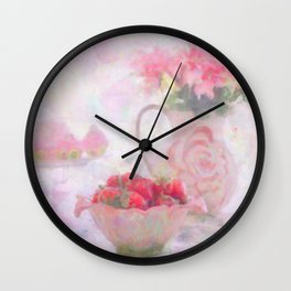 Strawberries & Cream Still Life Impressionist Painting Wall Clock