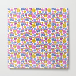 Cute and Colourful Skull Print with Flowers Metal Print