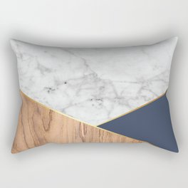 White Marble - Wood & Navy #599 Rectangular Pillow