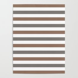 Dark beige, gray and white horizontal stripes Poster