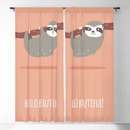 Sloth card - hello beautiful Blackout Curtain