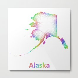 Rainbow Alaska map Metal Print