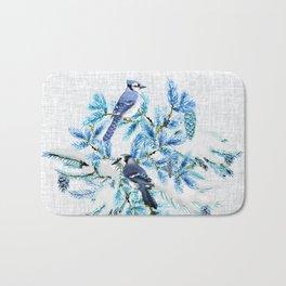 WINTER BLUE JAYS Bath Mat