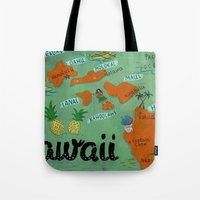 hawaii Tote Bags featuring HAWAII by Christiane Engel