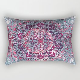 Vintage Boho Burgundy Mandala Rectangular Pillow