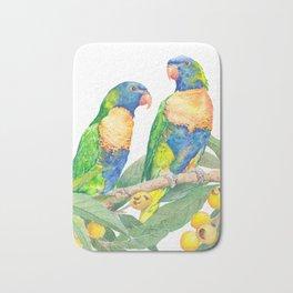 Rainbow Lorikeet Couple - watercolour of Australian parrots Bath Mat