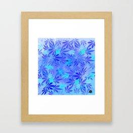 Blue Frost Cannabis Swirl Framed Art Print