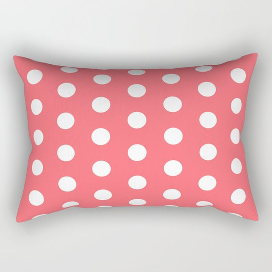 Polka Dot Coral Rectangular Pillow