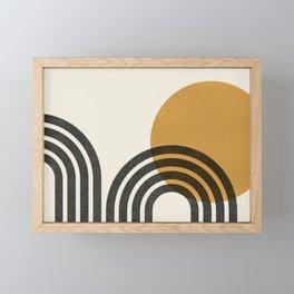 Mid century modern - Sun & Hills Framed Mini Art Print