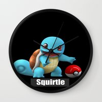 squirtle Wall Clocks featuring Squirtle 2 by Yamilett Pimentel