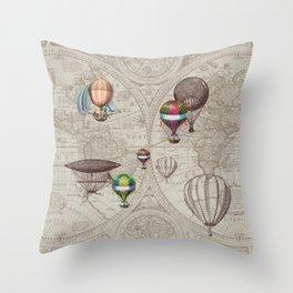 Balloon Festival Brown Throw Pillow