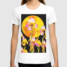 SURREAL IRIS GARDEN & RISING GOLD MOON IN BLACK SKY T-shirt