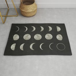 Moon Phases on Black Sky Rug