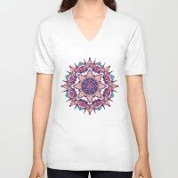 mandala V-neck T-shirts featuring Mandala by Pancho the Macho