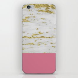 Faraldi gold marble and pink rose iPhone Skin