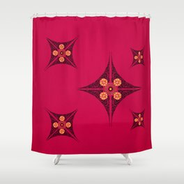 Pata Pattern in Black on Pink Shower Curtain