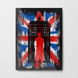 10th Doctor Tardis UK flag vintage old Metal Print