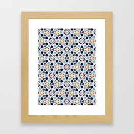 Persian Mosaic – Blue & Gold Palette Framed Art Print