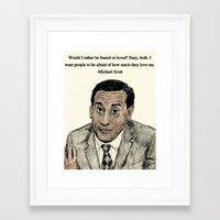 michael scott Framed Art Prints featuring Michael Scott by AdrockHoward