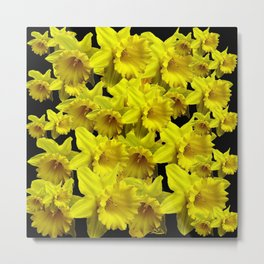 YELLOW SPRING KING ALFRED DAFFODILS ON BLACK Metal Print