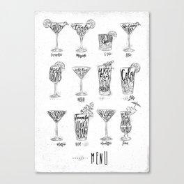 Cocktail menu graphic Canvas Print
