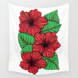 Bouquet of hibiscus flower and tropical leaves Wall Tapestry