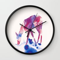 fawn Wall Clocks featuring Fawn by Andreas Lie