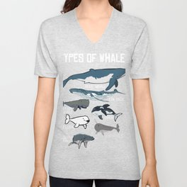 Cute Ocean Mammal Guide print, Types of Whale, Fish Unisex V-Neck