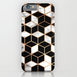 Marble Cubes With Gold Geometric Lines iPhone Case
