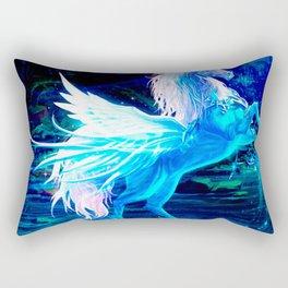 Unicorn Forest Stars Cristal Blue Rectangular Pillow